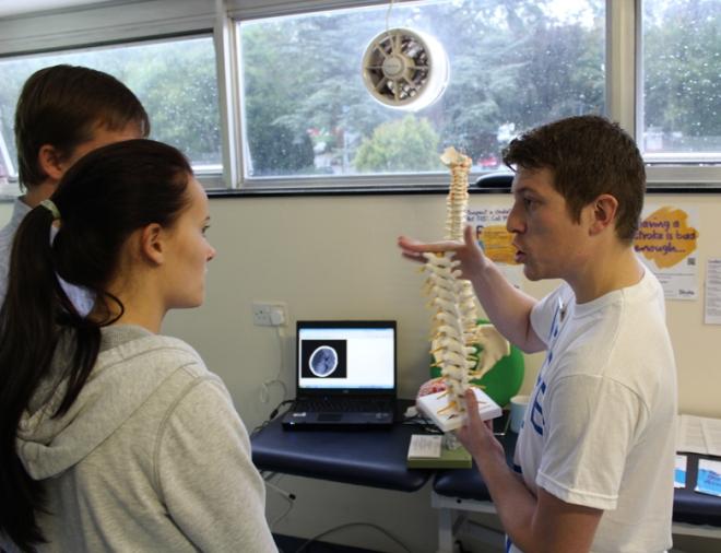 Image of a Physiotherapist explaining back pain